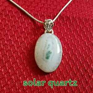 Solar Quartz Necklace Sterling Silver